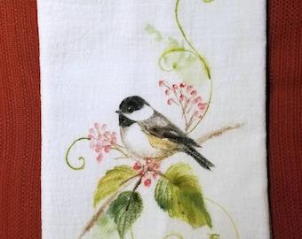 Hand Painted Flour Sack Towel, Chickadee
