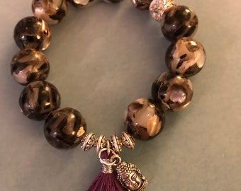 Mosaic shell bead stretch bracelet with silver plated  Buddha head