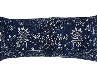 Indigo & White Asian Batik Textile Body Pillow