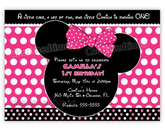 Mouse Ears Girl or Boy Birthday Invitation (You Print)