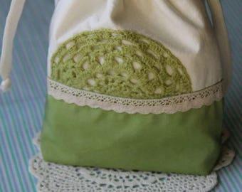 Handmade cotton bag with crochet