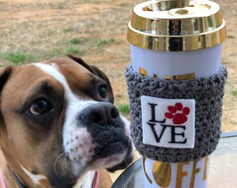 Crochet Coffee Cozy. Crochet Coffee Sleeve. Crochet Coffee mug. Love dog. Gifts under 10
