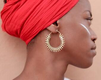 Silver Earrings - Silver Hoops - Gypsy Earrings - Tribal Earrings - Ethnic Earrings - Indian Earrings - Ttibal Hoops - Indian Hoops (ES51)