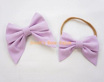 Linen Lt.Orchid Sailor Bow Headband Nylon Skinny Headband or Clip