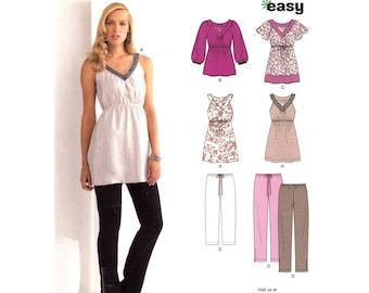 Long Top & Pants Pattern New Look 6033 Bubble Sleeve Top Flutter Sleeve Tunic Crop Pants Zipper Leg Women Sewing Pattern Size 6 to 16 UNCUT