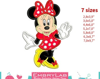 Applique Minnie Mouse. 2 Versions. Machine Embroidery Applique Design. Instant Digital Download (16250)