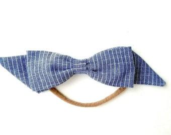 Chambray Stripe Bow (Headband)