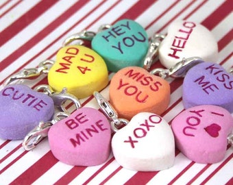 valentine's day charm conversation heart charm kawaii polymer clay charms miniature food jewelry clay food sweetheart candy heart necklace