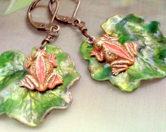 Frog Earrings, Hand Painted Frogs, Good Luck Frog Earrings, Frogs and Lily pad Earrings, Dangling Frog Earrings, Rustic Woodland Earrings