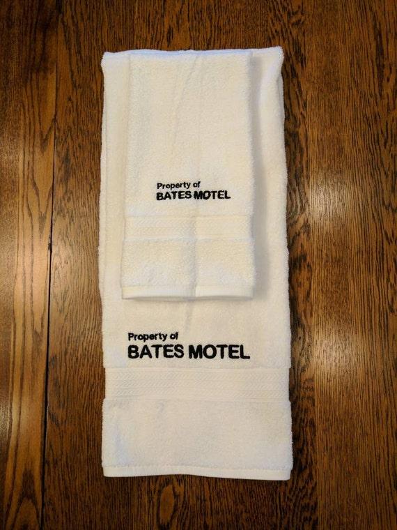 Bates Motel Towel Set  (1 hand towel & 1 bath towel, embroidered) (towel, bates motel, horror, movie, tv series, psycho, horror movie, gore)