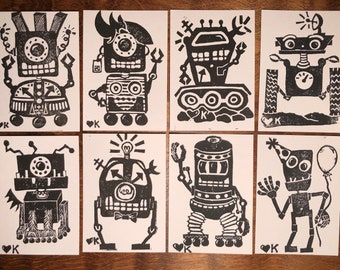 Select Set of 6 Robot Block Printed Greeting Cards