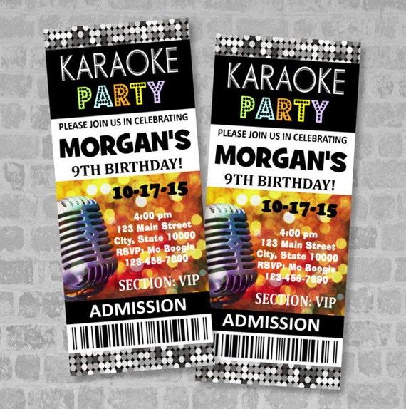 Karaoke birthday party ticket invitation custom karaoke party like this item stopboris Choice Image