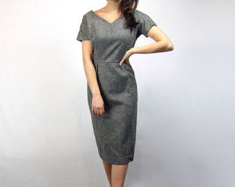 60s Wool Wiggle Dress Grey Fitted Office Dress Vintage Gray Bombshell Dress - Large L