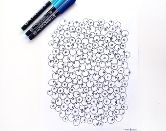 Blueberries Coloring Sheet for Kids and Adults, Food Coloring Sheet, Adult Coloring Book Page DIGITAL DOWNLOAD