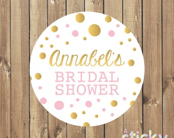Personalized Bridal Shower Stickers, Bridal Shower Labels, Bridal Shower Favours, Bridal Shower Favor Stickers, Pink and Gold Stickers