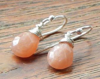 Peach Moonstone Earrings,Moonstone Earrings,Sterling Silver,June Birthstone,June Birthday,Wire Wrapped Earrings