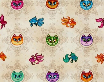 Quilting Treasures - Dan Morris - A Tail of Two Kitties - Cat Medallions & Fish