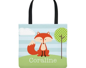 Fox Tote Bag - Personalized bag - Three Sizes to Choose From - Great for library, dance, music lessons, and more!