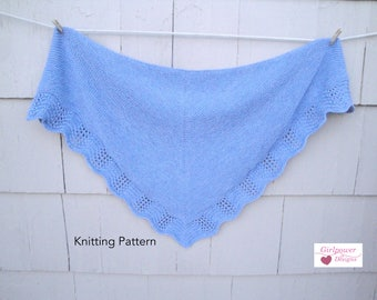 Shawl with Lace Edge PDF Knitting Pattern, Worsted Yarn, Garter or Stockinette, Feather & Fan Lace