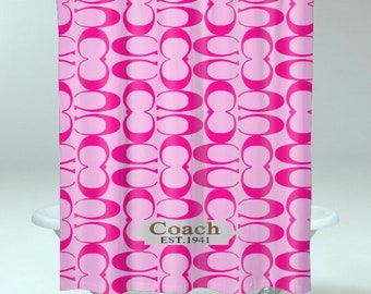 COACH Limited Editions Fashion C Pink SHOWER CURTAIN <Print On Polyester>