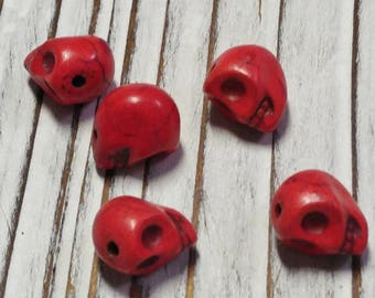Skull Beads, Howlite Beads, Dyed, Red Skull, approx. size 10 x 8 x 9 mm, Hole: 1 mm - 5 Pcs