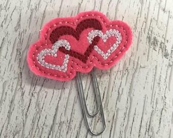 Interlocking Hearts Valentine Felt Planner Clip