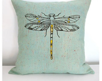 Dragonfly Pillow Cover 16x16 Inch Dragonfly Screenprint on Speckled Green