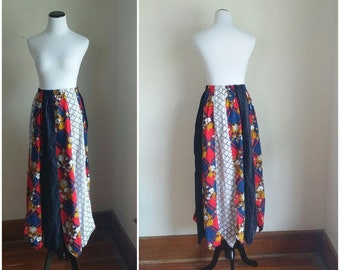 gorgeous 70s patchwork maxi skirt vintage hippie prairie cotton lace velvet  lined lace blue red white handmade made in usa