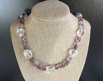 Naturall pink amethyst ametrine faceted gemstone necklace, crystal quartz beads, pyrite, sterling silver beads & Bali sterling silver clasp.