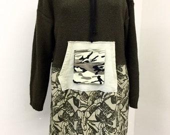 Upcycled Sweater Dress Boho Clothing Gypsy Clothing Upcyled Recycled Repurposed Lagenlook Clothing UpcycledTop Tunic Upcycle Dresses
