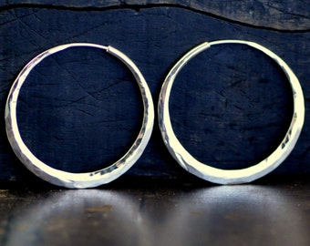 1 1/2 inch sterling silver hoop earrings smooth, medium endless style hoops, eco friendly jewelry