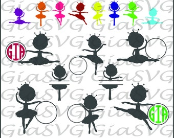 Little Ballerinas Monogram SVG, little dancers svg, ballet svg, ready to cut files for Cricut - Silhouette etc, also in dxf & eps format