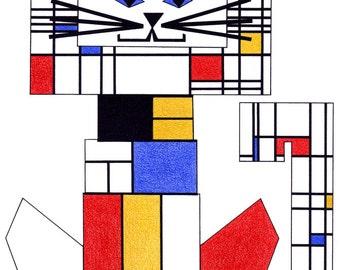 Cat Art- Cat Print- Cat Illustration- Crazy Cat Lady- Cat Decor- Cat Drawing- Cat Wall Art- Cat Suit- Piet Mondrian C-Cat by beckyzimm
