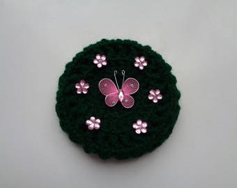 X-Small Bun Cover with Pink Flower Rhinestones and Butterfly, 24 Colors, Crochet Bun Cover, Bun Wrap, Bun Holder, Bun Maker