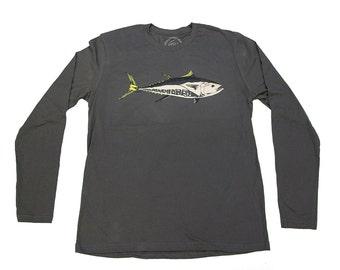 BLUE FIN TUNA - Gun Metal Grey - Long Sleeve T-shirt - water-based ink - Tuna - Mexico - East Coast - West Coast - by uroko - limited