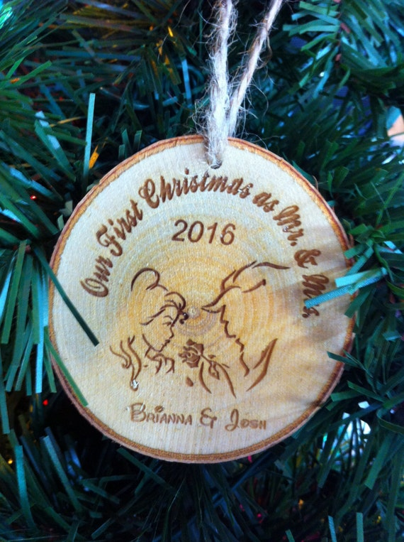 Personalized Wedding Ornament Mr and Mrs Our first Christmas