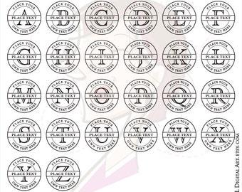 Letters Monogram Frame Alphabet Open Face Serif Font Uppercase Business Graphics Basic Circle Vector Digital Clipart Jpeg Png 10694