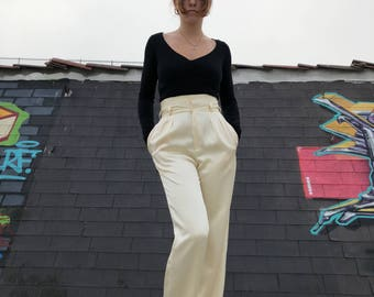 Vintage High Waisted Creme Satin Pants w/ Pockets
