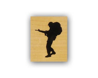 Soldier Silhouette with Pack mounted rubber stamp, military, army, troops, marines, Crazy Mountain Stamps No.4