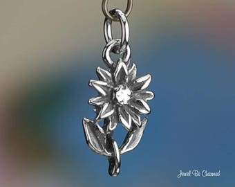 Sterling Silver Dahlia or Sunflower Charm Pretty Flowers 3D Solid .925
