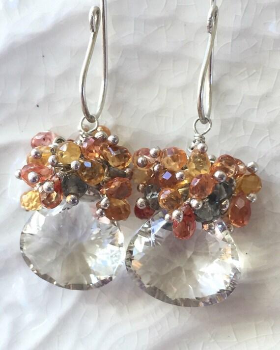 Green Amethyst Earrings and Sapphire Earrings Cluster Gemstone Earrings