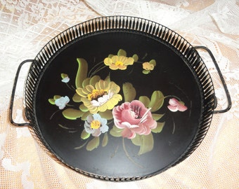 Round Metal Hand Painted TOLE SERVING TRAY with Handles