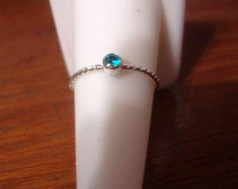 Neon Blue Natural Apatite Ring in eco friendly sterling silver - Bitty Baby - 3mm tube set Stack or solitaire -  custom made in your size