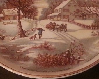 "Vintage Currier and Ives ""The Homestead in Winter"", Decorative Plate, 1987"