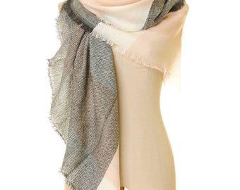 Triangle Scarf | Pink Scarf | Grey Scarf | Fall Scarf | Winter Scarf | Plaid Shawl | Spring Shawl | Fringe Scarf | Blanket Scarf S-281
