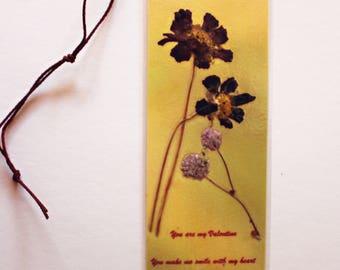 Purple cosmos pressed flower bookmark for Valentine's Day