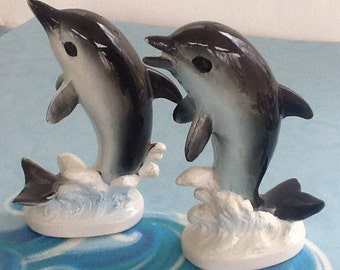 Dolphin Salt & Pepper Shakers~Vintage Tableware~Dolphins~Sea Animals~1960 Era~Beach Decor~Seaside Shakers~Cork Stoppers~Salt Pepper Shakers
