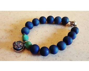 Blue Druzy bracelet, Boho blue druzy bracelet, Druzy agate bracelet,  Boho Druzy bracelet, Agate boho bracelet, Boho agate bracelet