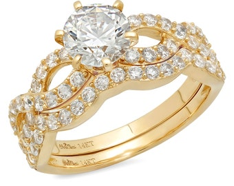 Wedding Band Set, Round Wedding Set, Wedding Ring Sets, Wedding Rings Set, 1.5 CT Simulated Engagement Bridal Ring Band Set 14k Yellow Gold