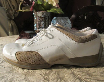 Awesome Genuine Leather and Suede White and Tan Sneakers -  Size 7 .5 M